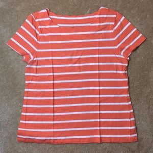 👚Talbots Orange & White Striped Top - Large